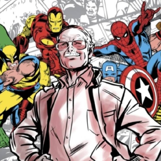 Stan+Lee+is+pictured+standing+in+front+of+several+Marvel+super+heroes.+The+characters+he+is+standing+in+front+of+were+his+creations.+