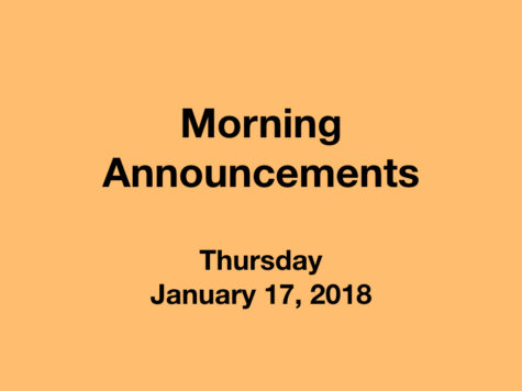 Morning Announcements: 1.17.19