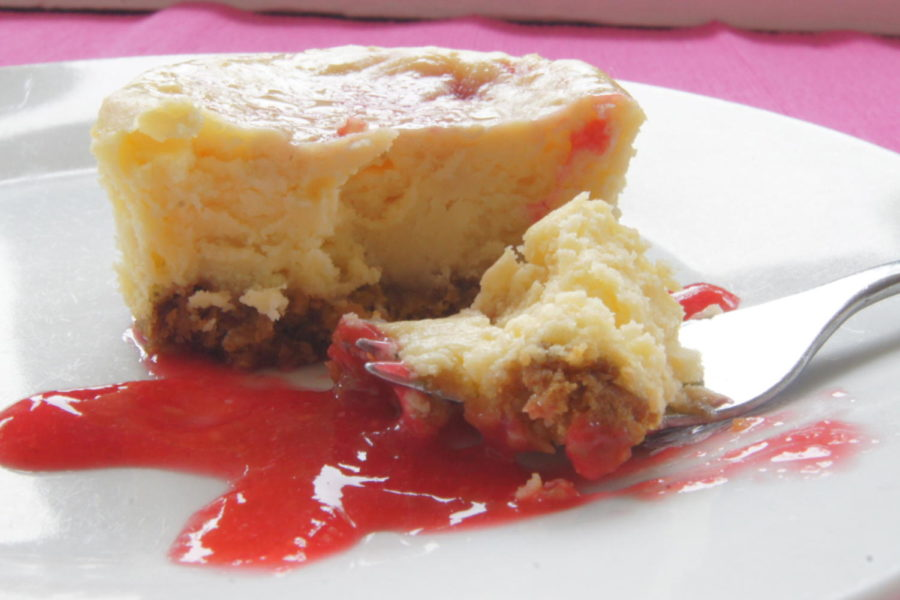 Diving into a miniature cheesecake. See how to make this delicious dessert in this video.